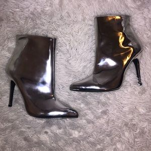 Silver chrome booties